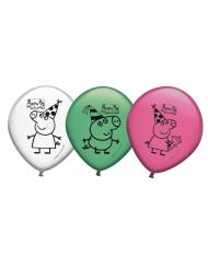 8 latex gekleurde Peppa Pig™ ballonnen
