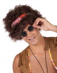 Bruine afro hippie pruik voor volwassenen