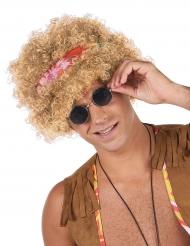 Blonde afro hippie pruik voor volwassenen
