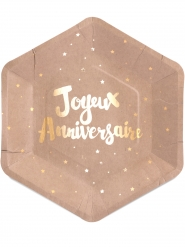 8 kartonnen kraft Joyeux Anniversaire borden