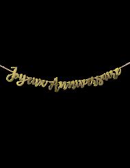 Goudkleurige metallic Happy Birthday slinger