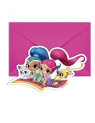 6 Shimmer & Shine™ uitnodigingen en enveloppen
