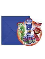 6 kartonnen PJ Masks™ uitnodingen met enveloppen 14 x 9 cm