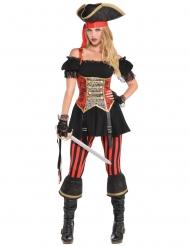 Rood zwart piraten kostuum voor vrouwen