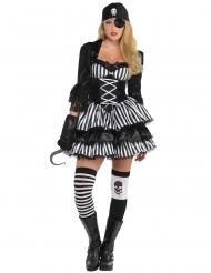 Zwart wit piraten kostuum voor vrouwen