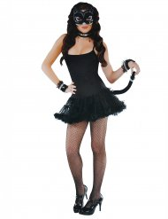 Zwarte sexy kat accessoire set voor vrouwen
