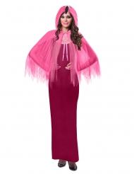 Roze flamingo cape met capuchon voor volwassenen