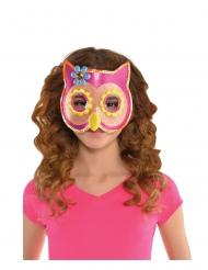 Roze uil masker met lovertjes voor kinderen