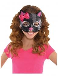 Zwart kattenmasker met lovertjes voor kinderen