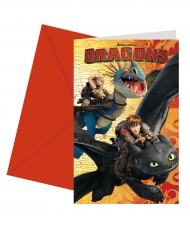 6 How To Train Your Dragon™ uitnodigingen met enveloppen