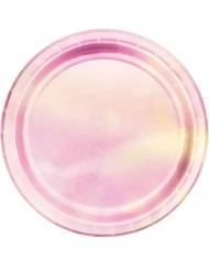 8 kleine kartonnen roze regenboogkleurige borden