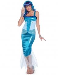 Blauw sirenen kostuum voor vrouwen