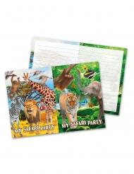 8 kartonnen Safari uitnodigingen