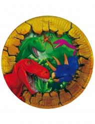 6 kleine kartonnen dinosaurus borden