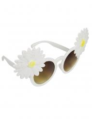 Witte hippie bloemen zonnebril voor volwassenen