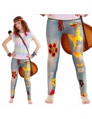 Flower power jeans legging voor volwassenen