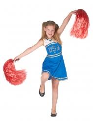 Blauw USA cheerleader kostuum voor meisjes
