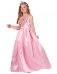 Lange satijn roze prinsessen jurk voor meisjes