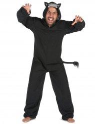 Zwart panter onesie kostuum voor mannen