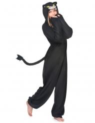 Zwarte panter kostuum met capuchon voor vrouwen