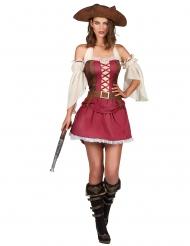 Sexy bordeaux rood piraten kostuum voor dames