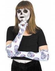 Witte Dia de los Muertos skelet handschoenen