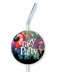 6 plastic Crazy Party rietjes met afbeelding