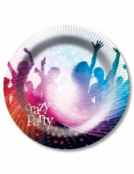 6 kartonnen witte Crazy Party borden