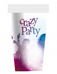 6 witte Crazy Party kartonnen bekers