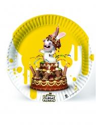 6 gele kartonnen Raving Rabbids™ borden