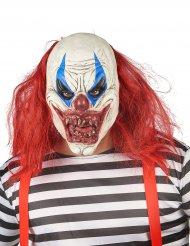 Latex enge clown masker met haren voor volwassenen