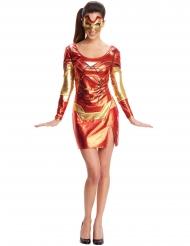 Rode en goudkleurige Iron Girl™ jurk met masker voor dames