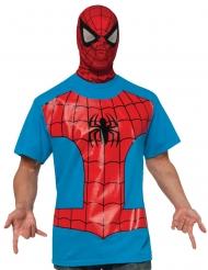 Rood en blauw Spiderman™ t-shirt met muts voor volwassenen