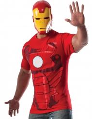Rood Iron Man™ t-shirt met masker voor volwassenen