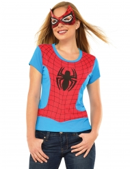 Rood en blauw Spider Girl™ t-shirt en masker voor vruowen