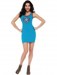 Blauwe Captain America jurk met strass voor vrouwen