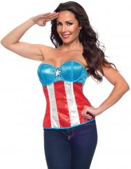 Captain America™ korset met lovertjes voor vrouwen