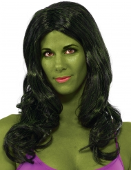 Donkergroene Hulk™ pruik voor vrouwen