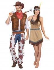 Cowboy en indiaan koppelkostuum voor volwassenen