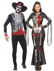 Skelet Dia de los Muertos koppelkostuum voor volwassenen