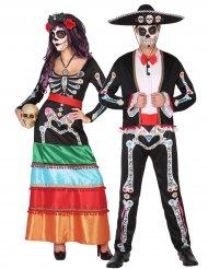 Dia de los Muertos skelet koppelkostuum voor volwassenen
