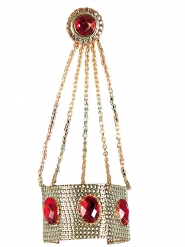 Armband met goudkleurige ring en rode steentjes