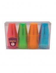 60 veelkleurige neon plastic shotglaasjes
