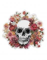 Plastic doodskop en bloemen muurdecoratie