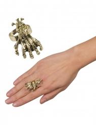 Goudkleurige metalen klauw en schedel ring