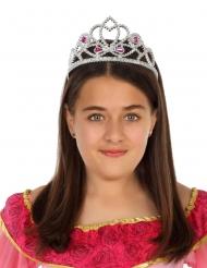 Zilverkleurige en roze prinses tiara voor meisjes