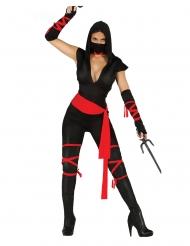 Sexy zwart en rood ninja kostuum voor dames