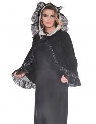 Zwarte fluweelachtige prinses cape voor vrouwen