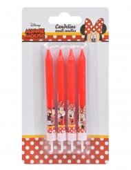 4 rode Minnie™ verjaardagskaarsjes