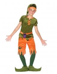 Groen en oranje bos elf kostuum voor jongens